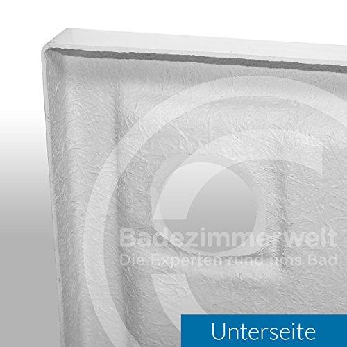 Rechteck Duschwanne / Duschtasse AQUABAD® | Komplettset Comfort Basic 80x90cm | inkl. Styroporträger und Ablaufgarnitur / Siphon Viega Tempoplex | (Gesamthöhe inkl. Träger 16 cm) zum Befliesen -