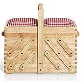 Prym Nähkasten aus hellem Holz mit Stoff