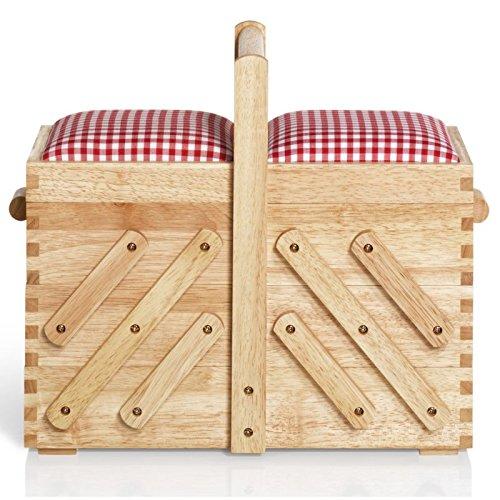 Prym lumière naturelle Boîte à couture en bois, Dessus en tissu | Medium 36x 30x 19cm 612547