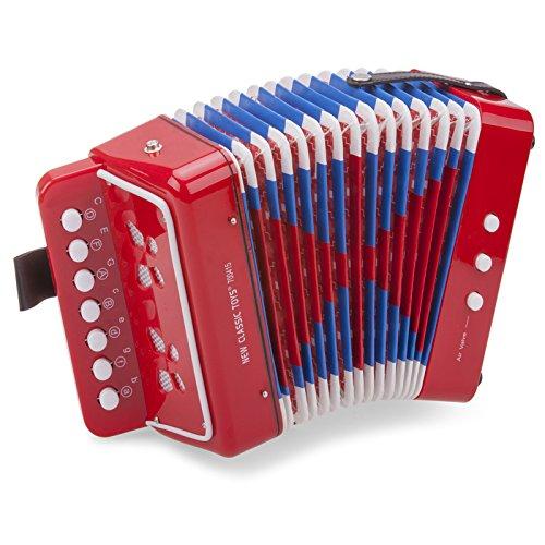 Mein erstes Instrument für Kinder ab 3 Jahren Akkordeon, rot inklusive Notenbuch • Accordeon Akkordeon Schifferklavier Harmonika Spielzeug Musik