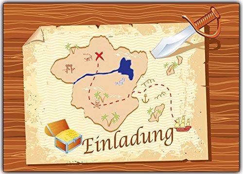 Set Einladungskarten als Schatzkarte Piraten-party Pirat Schatzsuche Jungen Mädchen - 11 Stück Schatzinsel Einladung Jungs Buben Piratenparty Kindergeburtstag Geburtstag