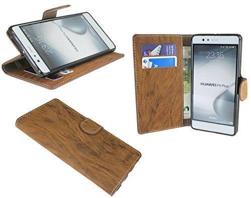 Huawei P9 PLUS // Buchtasche Hülle Case Tasche Wallet BookStyle mit STANDFUNKTION in Braun @ Energmix