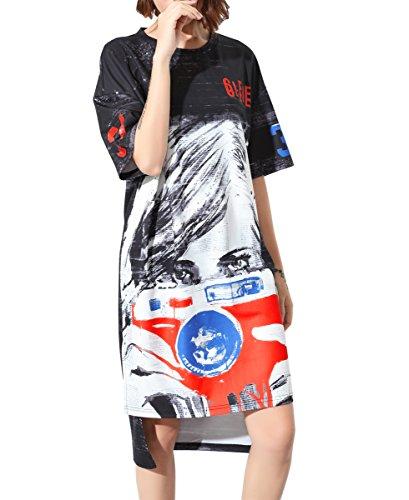 ELLAZHU Femme Été Mi-Longue Col Ras-Du-Cou Manches Courtes Impression T-Shirt Robe GY1193 A Black