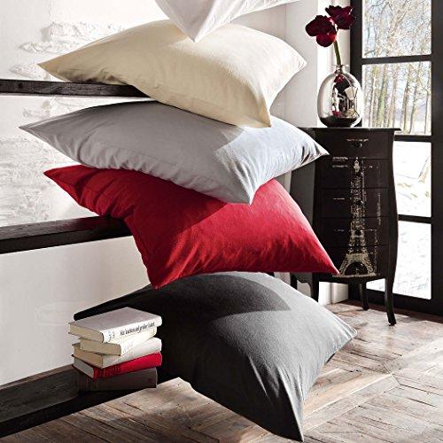 Bettwaren-Shop Uni Biber Kissenbezug bordeaux, Kissenbezug einzeln 40×40 cm