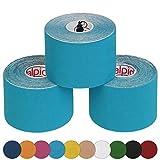 ALPIDEX 3 rouleaux de ruban adhésif de kinésiologie 5 m x 5,0 cm Ruban adhésif kinésiologique en diverse couleurs, Couleur:la lumière bleue