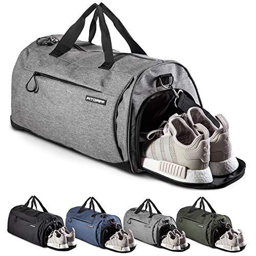 Fitgriff® Sporttasche Reisetasche mit Schuhfach & Nassfach - Männer & Frauen Fitnesstasche - Tasche für Sport, Fitness, Gym - Travel Bag & Duffel Bag 48cm x 26cm x 25cm [30 Liter] (Grey, Small) - Tasche Nike Frauen