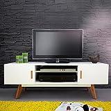 CAGÜ Design Retro Lounge TV-Tisch [Göteborg] Weiss-Eiche 120cm im SKANDINAVISCHEN Stil, Neu!