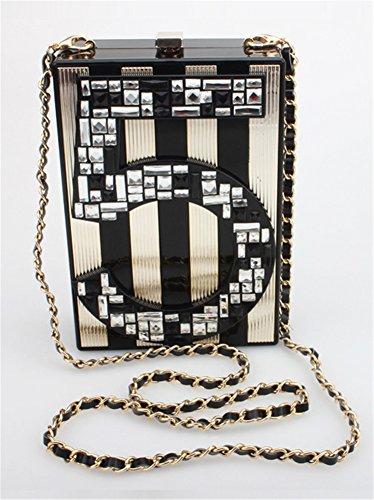 Good Night Donne Acrilico Strass Numero 5 Borse modello di sera di frizione Borse borsa banchetto banda dell'oro