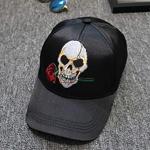 Schaf Kostüm Weibliches - zhuzhuwen Original Single Skull Rose Satin Baseball Cap Sport Entenzunge gebogen Visier männlichen und weiblichen Hut 2 einstellbar
