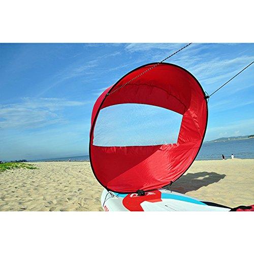 Wuudi Kajak Segel, Kanu Netzteil Zubehör Kayak Special Langlebige Spinnaker-106,7cm Professionelle Kajak Segel, Rot, 108 cm