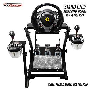 GT OMEGA Lenkradständer für Thrustmaster TX Racing Rad Ferrari 458 Italia & Pedalsatz, Xbox One, PC – Kompakt, Zusammenklappbar und Neigungsverstellbar für ein ultimatives Spielekonsolen-Erlebnis