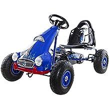 Ricco PB9688A Kart à pédales sur roues en caoutchouc pour enfant Bleu
