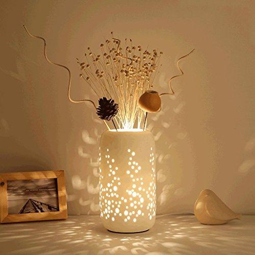PIAOLING Stilvolle minimalistische keramische Blume Tischlampe, warme und romantische Hausdekoration Beleuchtung, Schlafzimmer Nachttisch Wohnzimmer Studie LED Energiesparlampe