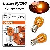 2x Osram PY21W 12V BAU15s 7507-02B Orange Blinker vorne hinten Seitenblinker Ersatz Halogen Auto Lampe E-geprüft