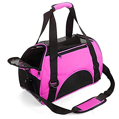 MisteSun Cat Carrier,Soft-Sided Pet Travel Carrier for Cats,Dogs Puppy Comfort Portable Foldable Pet Bag Airline Approved Pink from MisteSun