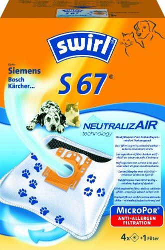Swirl S67 NeutralizAir Staubsaugerbeutel für Siemens Staubsauger, 4 Stück + 1 Filter
