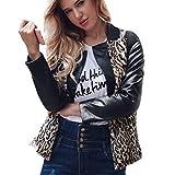 KaloryWee 2018 Damen Warm Leopard Mantel Stehkragen Parka Kunstleder Outwear Jacke