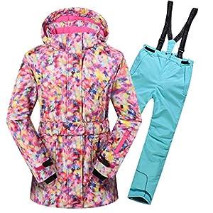 OMSLIFE Mädchen Kinder Skianzug Skijacke Regenlatzhose Verdickung Schneeanzug Wasserdicht Winddicht Winter Skianzüge Kinder Skianzüge