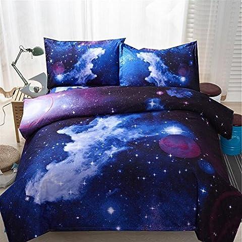 Parure de lit série Galaxie 4 sets de housses de couettes 200x230cm 3d rides et résistant à la décoloration