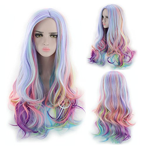 Limin Peluca gradiente arcoiris helado de alta temperatura de seda pelo rizado tocado diario femenino