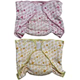 Annapurna Sales 100% Pure Ultra-Soft Cotton New Born Baby Diapers Or Nappies Combo Pack Of 2 Pcs. - Pink & Yellow ( 9 - 12 Months ) !! Skin Friendly And Premium Quality !!