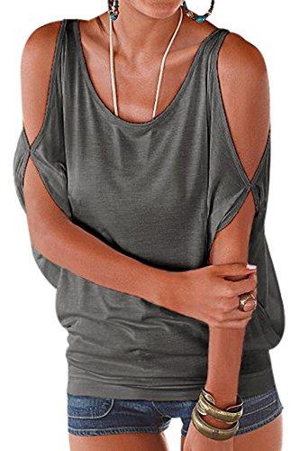 YOINS Damen Kurzarm Bluse Schulterfrei Batwing Weit Rundhals Carmen Oberteil Tops T-Shirt Sommerbluse Grau XS/EU32-34
