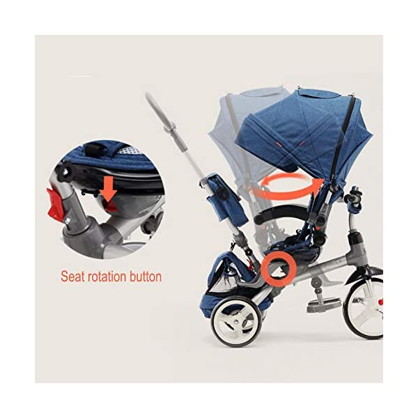 GSDZSY - 4 IN 1 Multifunction Children Tricycle, Adjustable Seat, Baby Can Sit Or Lie Flat, The Seat Is Comfortable And Easy To Use,1-6 Years Old GSDZSY ❀ Material: High carbon steel + ABS + EVA wheel, suitable for children from 1 to 6 years old, maximum load 30 kg ❀ Features: The seat can be rotated 360; the backrest can be adjusted, the baby can sit or lie flat, adjustable push rods and parasols, suitable for different weather conditions ❀ Performance: high carbon steel frame, strong and strong bearing capacity; rubber wheel suitable for all kinds of road conditions, good shock absorption, seat with breathable fabric, baby ride more comfortable 3