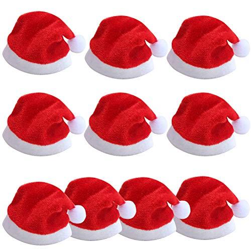 TRIXES Paquete 10 Mini Sombreros Santa Claus-Decoración