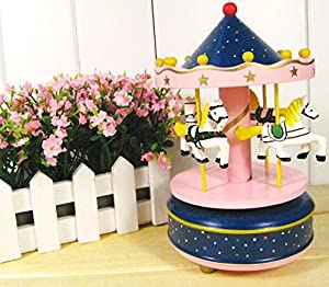ParaCity Wooden Merry-Go-Round Carousel Classic Music Box Kids Children Girls Christmas Birthday Wedding Gift Toy