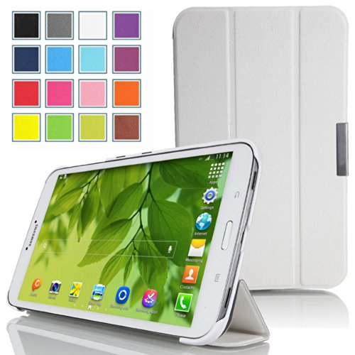 Mulbess - Samsung Galaxy Tab 3 7.0 Lite 2014 Slim Smart Hülle Case - Magnetic Magnet Schutzhülle Case Tasche Etui Sleeve Cover mit Standfunktion + Auto Sleep Wake Up Farbe Weiß