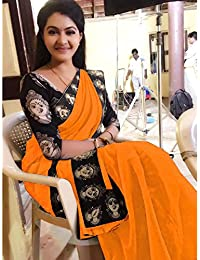 Indian Style Present Women's Orange Colour Chanderi Cotton Kalamkari Design Printed Blouse & Border Saree Sarees...