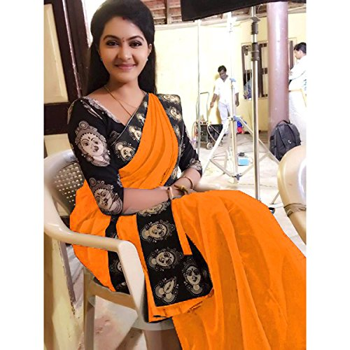 Rajeshwar Fashion Women's Cotton Saree With Blouse Piece (Mataji Border Orange_Orange)