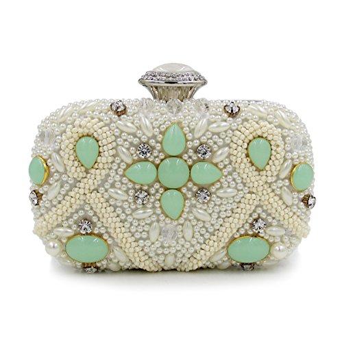 WYB Schwere Perlen Abendtasche / Kupplung Diamant / High-End-Farbe / Perle Bankett Green