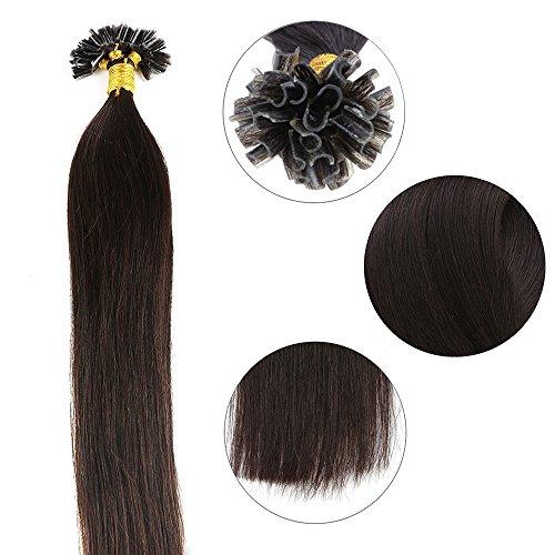 Echthaar-extensions Licht (Extensions Echthaar Bondings 1g U-Tip Haarverlängerung 50 Strähnen Keratin Human Hair 50g-50cm(#2 Dunkelbraun))