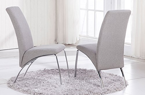 Silla de comedor tapizada modelo ARCO tejido Elegance color gris ceniza - Sedutahome