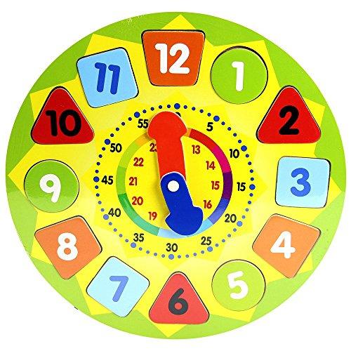JUINSA- Reloj Madera Puzzle Encajes, 30 x 30 cm (12910)