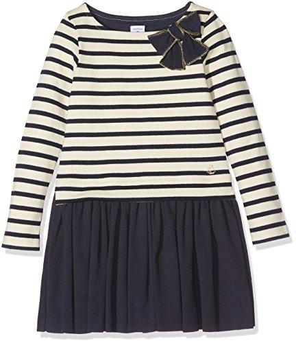 Petit Bateau Mädchen Kleid Robe ml Coq/SM 2614260, Mehrfarbig (Coquille/Smoking 60), 98 (Herstellergröße: 3ans/95cm) (Robe Gestreiften Baumwolle)