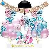 EEIEER Gender Reveal Party Supplies and Baby Shower Party Boy or Girl Set (64 Stück) - einschließlich 36' Reveal Ballon, Rosa Blaue und Schwarz Konfetti Ballons, Banner, Foto Requisiten