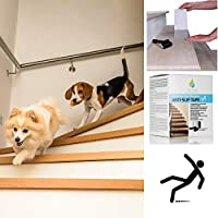 Non Slip Stair Ramp Treads for Pets - Discreet Clear Adhesive Safety Tape - Easy Climb Stairs Ladder Assistance - Strong Grip Anti Skid for Cat Dog Little Older Animal - UK Brand -Slips Away®