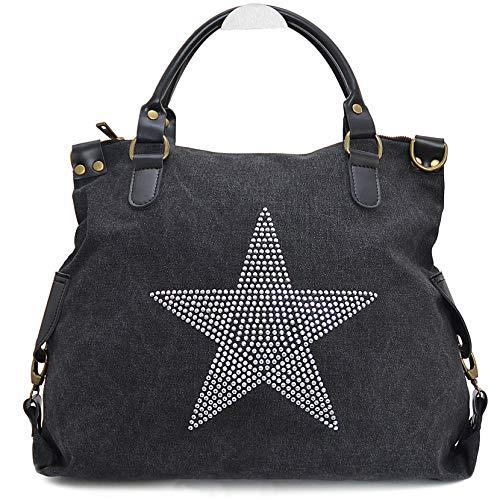 Vain Secrets Sternen Shopper Damen Handtasche mit Schulterriemen (Schwarz Strass) -