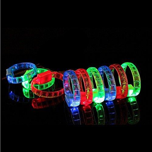 JIANUO SHIYE LED RGB Flashing Light Up Bangle Bracelets Wristbands  Multicolor  6PCS