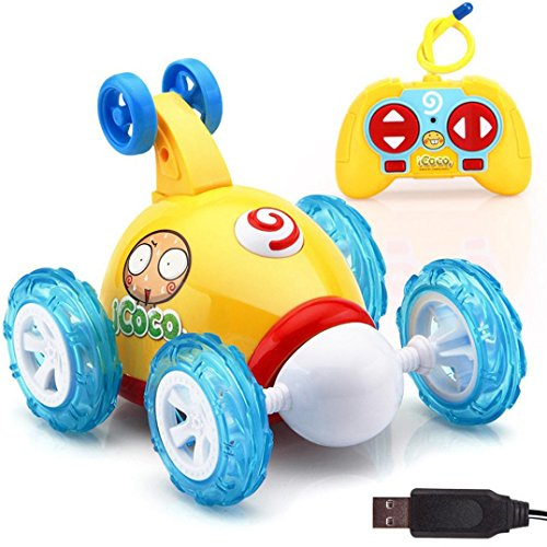 Child Music Toy Distant Radio Management Automotive Cartoon Stunt Dump Truck Early Studying Instructional Toy for Boys and Women (Yellow)