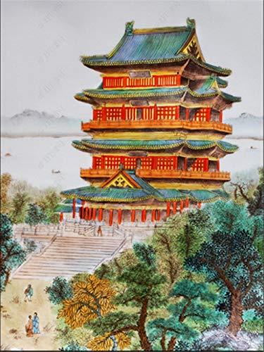 MYLOOO Tengwang Pavillon Tür Fototapete 3D Selbstklebend Türposter 3D Bewirken Fototapete Türfolie Poster Tapete