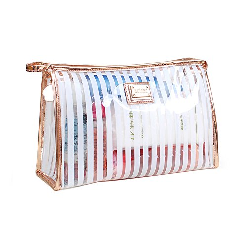 Trousse de Maquillage transparent, ONEGenug Imperméable Trousses de Toilette transparents Sac Cosmétique clair PVC Organisateur de Cas de Voyage (blue)