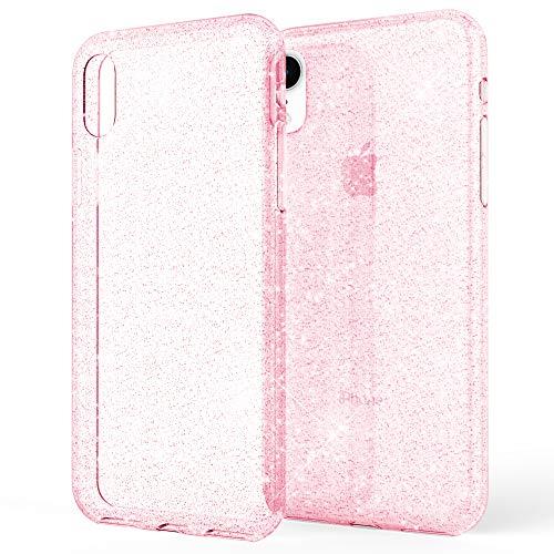 NALIA Glitter Hülle kompatibel mit iPhone XR, Glitzer Handyhülle Ultra-Slim Silikon Case Cover Schutzhülle, Bling Bling Handy-Tasche Bumper, Dünnes Strass Phone Etui Backcover, Farbe:Pink Pink Gummi Case