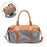 Unisex Canvas Reisetasche Sporttasche, OURBAG Vintage Streifenmuster Carry-on Weekender Tasche Damen und Herren mit der Großen Kapazität