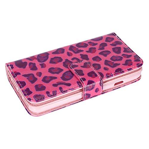 iPhone 7 Hülle,iPhone 7 Ledertasche Handyhülle Brieftasche im BookStyle,SainCat PU Leder Hülle Wallet Case Folio Schutzhülle Karikatur Muster [Pink Butterfly] Lederhülle Scratch Bumper Handytasche Bac Rosa Leopard