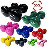 Body Revolution Pair of Vinyl Dumbbells for Home Gym, Crossfit, Pilates, Body Toning and fitness (0.5 - 5kg)