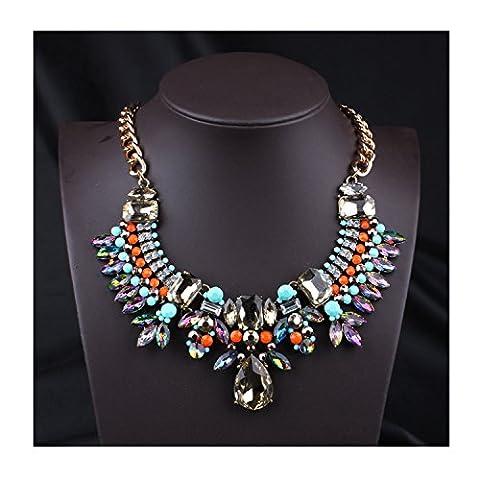 Hamer Bena Femme mulity-color cristal collier ras du cou perles Pendentif Charm Collier Bijoux Fashion
