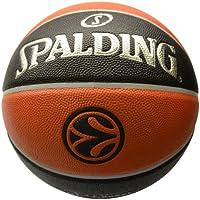 Spalding Euroleague Tf500 In/Out Sz.7 (74-539Z) Balón de Baloncesto, Naranja/Negro, 7